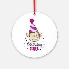 Birthday Girl - Monkey Ornament (Round)