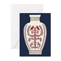 Asian Vase (Blue) Greeting Cards (Pk of 10)