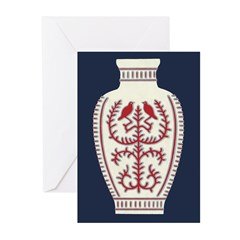 Asian Vase (Blue) Greeting Cards (Pk of 20)