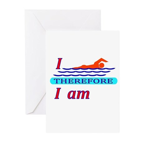 i swim therefore i am Greeting Cards (Pk of 10)