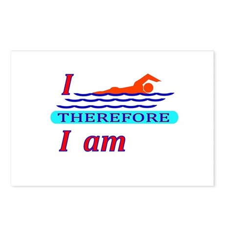 i swim therefore i am Postcards (Package of 8)