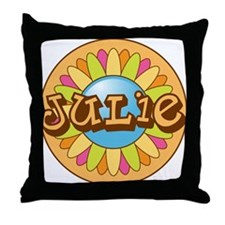 Julie Name Bright Flower Throw Pillow