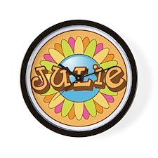 Julie Name Bright Flower Wall Clock