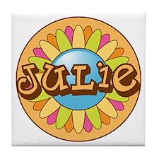 Julie Name Bright Flower Tile Coaster