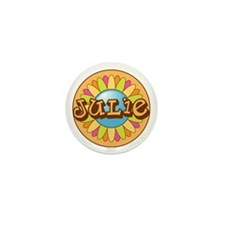 Julie Name Bright Flower Mini Button