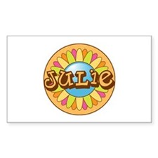 Julie Name Bright Flower Rectangle Decal