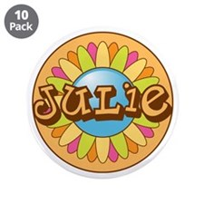 """Julie Name Bright Flower 3.5"""" Button (10 pack)"""