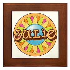 Julie Name Bright Flower Framed Tile