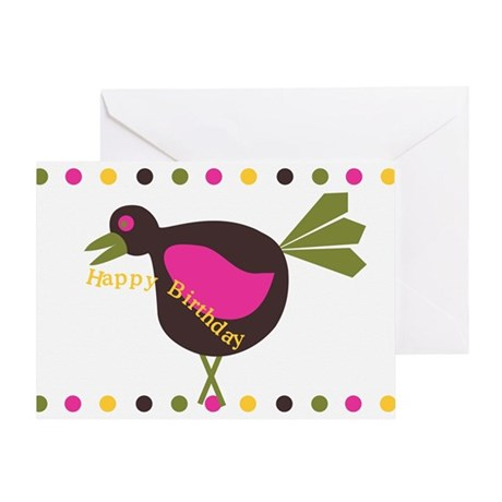 Happy Birthday Odd Retro Bird Greeting Card