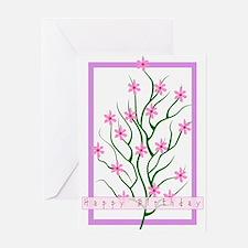 Happy Birthday Flower Tree Greeting Card