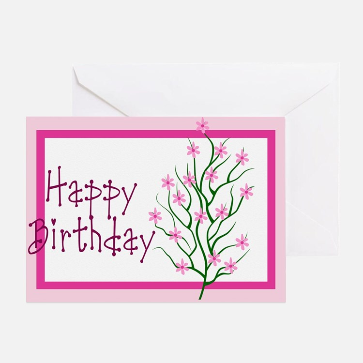 Happy Birthday Flower Tree Greeting Card