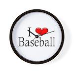 I Heart Baseball Wall Clock