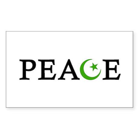 Peace & Muslim Rectangle Sticker