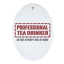 Professional Tea Drinker Oval Ornament