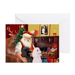 Santa's Two Poodles (ST) Greeting Cards (Pk of 10)