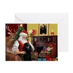 Santa's Black Poodle (ST-P) Greeting Card