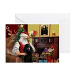 Santa's Black Poodle (ST-P) Greeting Cards (Pk of