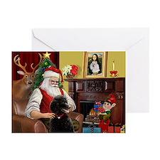 Santa's Black Poodle (ST) Greeting Cards (Pk of 20