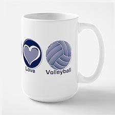 Peace Love Volleyball Large Mug