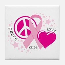 BC Peace Love Cure Tile Coaster