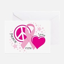 BC Peace Love Cure Greeting Cards (Pk of 10)