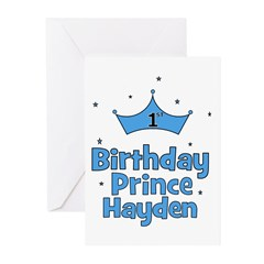 1st Birthday Prince Hayden! Greeting Cards (Pk of