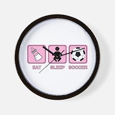 EAT SLEEP SOCCER (baby pink) Wall Clock