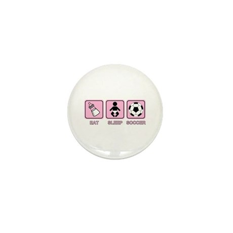 EAT SLEEP SOCCER (baby pink) Mini Button