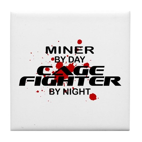 Miner Cage Fighter by Night Tile Coaster