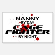 Nanny Cage Fighter by Night Rectangle Decal