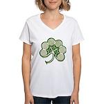 Irish Shamrock Spiral Women's V-Neck T-Shirt