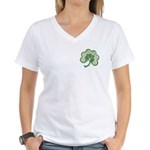 Irish Shamrock Spiral Ft/Bk Women's V-Neck T-Shirt