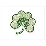 Irish Shamrock Spiral Design Small Poster