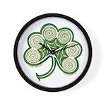 Irish Shamrock Spiral Design Wall Clock