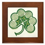 Irish Shamrock Spiral Design Framed Tile