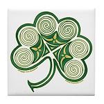 Irish Shamrock Spiral Design Tile Coaster