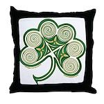 Irish Shamrock Spiral Design Throw Pillow