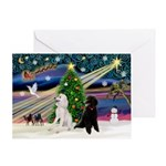 XmasMusic2 / 7 Poodles Greeting Card