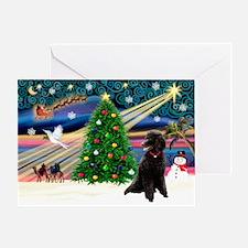 XmasMagic/Poodle (ST-Blk) Greeting Card