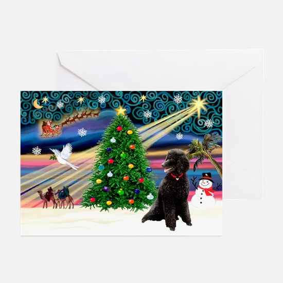 XmasMagic/Poodle (ST-Blk) Greeting Cards (Pk of 10