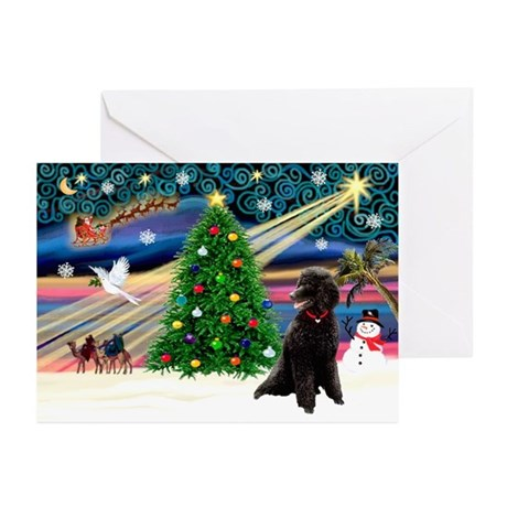 XmasMagic/Poodle (ST-Blk) Greeting Cards (Pk of 20