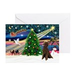 XmasMagic/Poodle (ST-Choc) Greeting Cards (Pk of 2