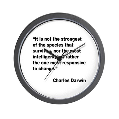 Darwin Survival Quote Wall Clock