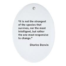 Darwin Survival Quote Oval Ornament