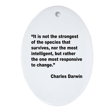 Darwin Survival Quote Oval Ornament