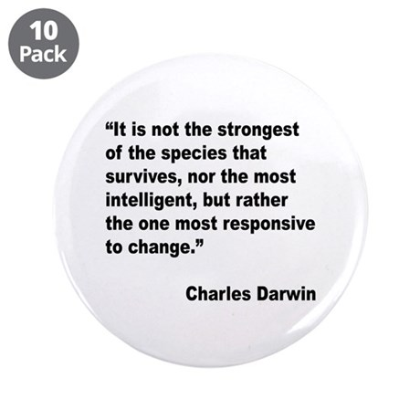 """Darwin Survival Quote 3.5"""" Button (10 pack)"""