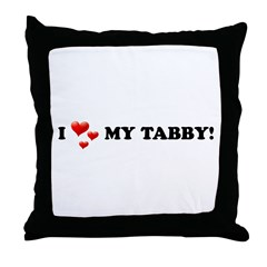 I Love My Tabby Throw Pillow