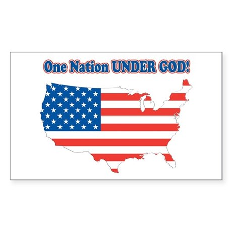 One Nation Under God Rectangle Sticker