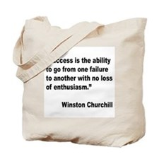 Churchill Success Quote Tote Bag