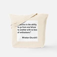 Churchill Success Quote Tote Bag